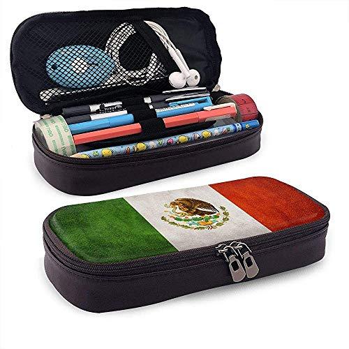 Estuche de lápices de cuero de gran capacidad con bandera de México,...