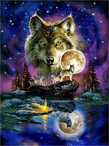 Diy Ölgemälde Malen nach Nummer Kit für Kinder Erwachsene Anfänger 16x20 Zoll - Tiere Wolf Mond, Zeichnen mit Pinsel Weihnachtsdekor Dekorationen Geschenke (Without Frame)