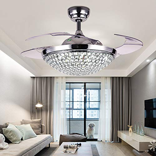 """A Million 42"""" Crystal Ceiling Fan Light with Retractable Blades Remote Control LED Chandelier Fan 3 Speeds 3 Colors Changes Lighting Fixture, Silent Motor with LED Kits Included (Silver)"""