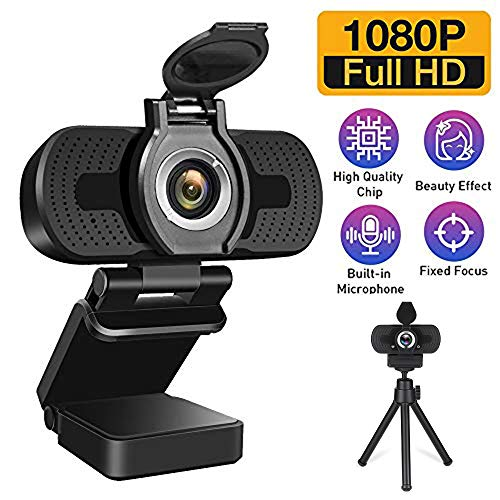 elechok Usb HD 1080P Beauty Webcam With Mic&Privacy Cover, for Desktop/LaptopPC CamStreaming Webcam for Gaming/VideoCalling/Recording/Conferencing SupportsWin10/Win8/MacOS/Linux system[Upgraded Ver]