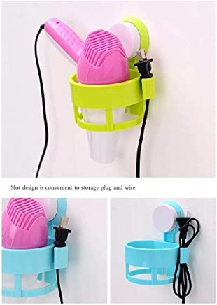 Skyfish® Plastic Wall Mount Hair Dryer Rack with Suction Cup Fix Holder (Medium, Multicolour)
