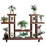 VIVOSUN Wood Plant Stand Plant Display Shelf Flower Rack Display for Indoor Outdoor Garden Lawn Patio Bathroom Office Living Room Balcony (6 Wood Shelves 12 Pots)
