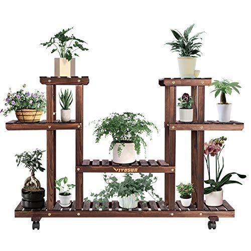 VIVOSUN Wood Plant Stand Plant Display Shelf Flower Rack Display for Indoor Outdoor Garden Lawn Patio Bathroom Office Living Room Balcony (6 Wood Shelves 12 Pots)
