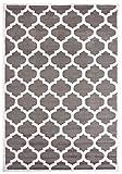 Carpeto Rugs Modern Teppich für Wohnzimmer Schlafzimmer Esszimmer - Marokkanisches Muster Kurzflorteppich - Grau 70 x 140 cm