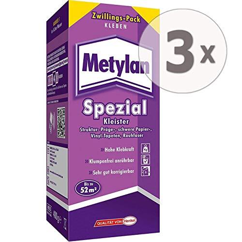 Gardopia Sparpaket: METYLAN Spezial Tapeten-Kleister, Spezialkleister mit hoher Klebkraft, 3 x 400g