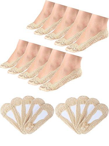 10 Paar No Show Spitze Boot Socken Rutschfeste Socken Unsichtbare Socken für Damen Gefälligkeiten (Hautfarbe)