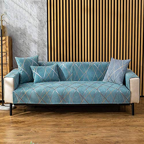 Fundas de sofá Antideslizantes Impermeables, Gruesa, Antideslizante, de fácil Ajuste, Lavable, Protector de Muebles, Funda de sofá, Funda Caterpillar Azul Oscuro 110x210cm (43x83inch)