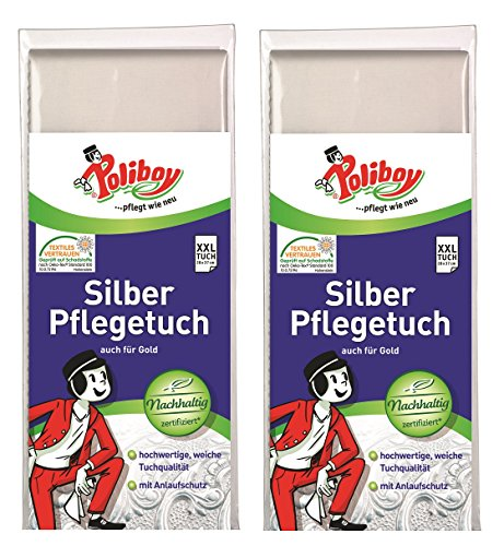 Poliboy - Silber Pflege Tuch - Spezialpoliertuch zur Pflege und Reinigung von Echtsilber und versilberten Gegenständen - 28 x 37 cm - 2er Pack - Made in Germany