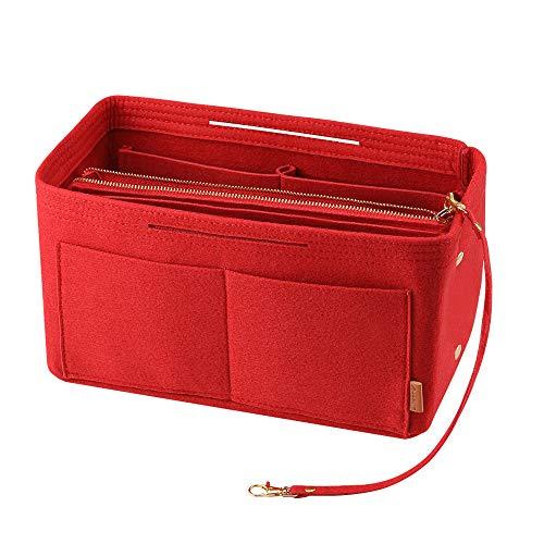 Avoalre Bag in bag pocket organizer, LV pocket organizer vilten rode handtas map met ritssluiting (29cm x 15cm x 18cm)