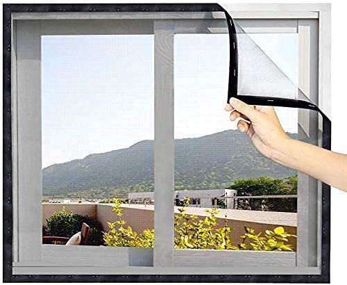 MEEO DIY Fliegengitter für Fenster abschnittbar Fliegengitter Fenster Insektenschutz mit Stark Haftendem Klettband, Kinderleichte Montage ( schwarzes Klettband )