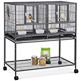 YAHEETECH 41.5' Stackable Divided Breeder Breeding Parakeet Bird Cage for Canaries Cockatiels Lovebirds Finches Budgies...