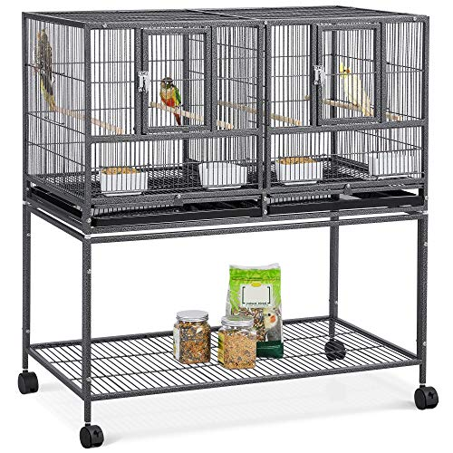 "YAHEETECH 41.5"" Stackable Divided Breeder Breeding Parakeet Bird Cage for Canaries Cockatiels Lovebirds Finches Budgies Small Parrots with Rolling Stand, Black"