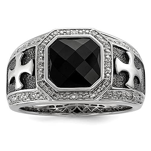 925 Sterling Silver White Night Diamond Black Onyx Cro925 Mens Band Ring Size 11.00 Gemstone Man Fine Jewelry For Dad Mens Gifts For Him