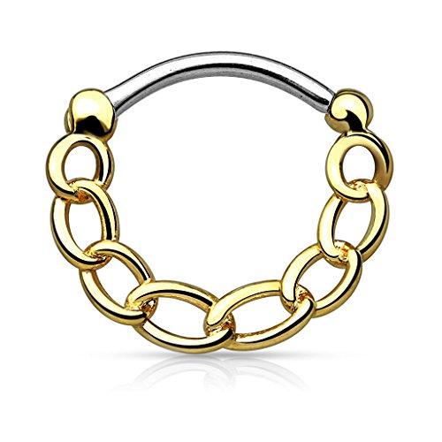 Piercingfaktor Universal Piercing Septum auch für Tragus Helix Ohr Nase Lippe Brust Intim - Schild Clicker Ring Kette Style Gold