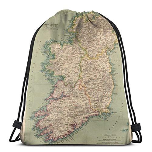 Vintage Map of Ireland (1888) Drstring Backpack Gym Sack Pack Solid Cinch Pack Sinch Sack Sport String Bag