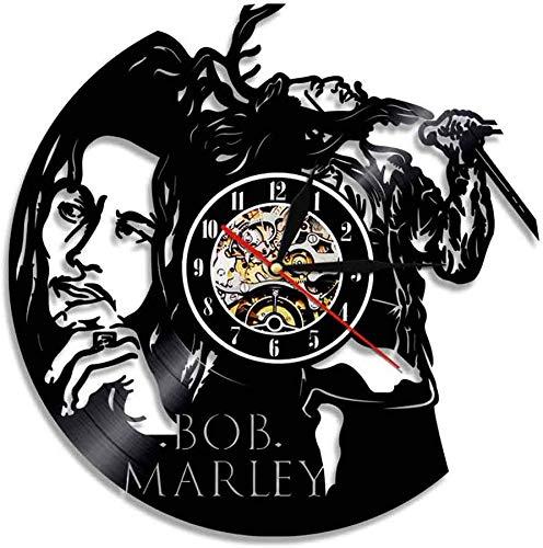 Orologio da Parete in Vinile Decorazione Leggenda Bob Marley Annata Camera familiare Decorazione Diametro 30 cm