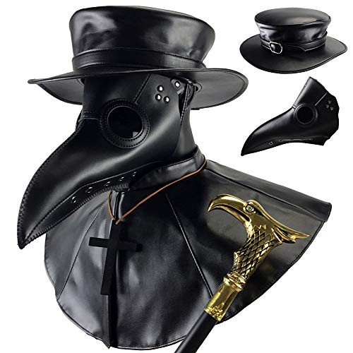 Absolute Vibe Plague Doctor Bird Mask and Hat Combo Set Halloween Costume Steampunk Cosplay Props (L, BLACK-001)