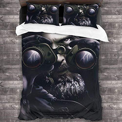 Jethro Tull Stormwatch Bettbezug-Set, 3-teiliges Bettbezug-Set mit Steppdecken-Set und 2 Kissenbezügen, gemütliches und weiches Bettbezug-Set, 214 x 178 cm