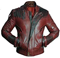 Mens Distressed Red Maroon Leather Jacket Size L