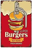 スーパーハンバーガー今すぐ購入メタルティンサイン、ビンテージプレートプラーク