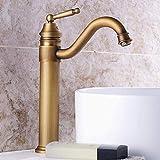 Completo Europeo antiguo cobre baño vanidades baño grifo caliente y frío de un solo agujero lavabo aumentando lavabo grifo retro bronce elegante (tamaño, corto), alto
