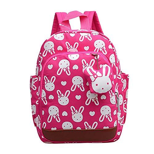 CAOLATOR Kinderrucksack Kindergarten Karikatur Rosarotes Kaninchen Kindergartenrucksack Baumwolle Rucksäcke Tasche Schultaschen für Mädchen Kinder Jungen Kleinkind