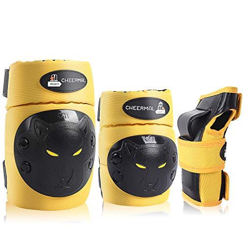 SeHan Inliner Schoner Set für Kinder ab 3 bis 12 Jahre - 6 in 1 Schutzausrüstung Set mit 2 Knieschoner, 2 Ellbogenschoner, 2 Handgelenkschoner, Ideal für Skateboarden,Radfahren,Roller oderSki Fahren
