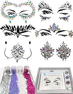 6 Sets Festival Rhinestones Rave Mermaid Face Jewel Women Mermaid Face Gems Glitter Gift (Dream Set)