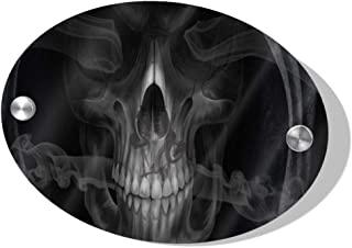 Rod Whitehead Smoke Skull Wood Sign for Door, Wall, Office, Home, Wall, House, Business, Clinic, Hotel, SPA, Bathroom - Quick and Easy Installation Door Number Plate 5.5 x 7.5 inch