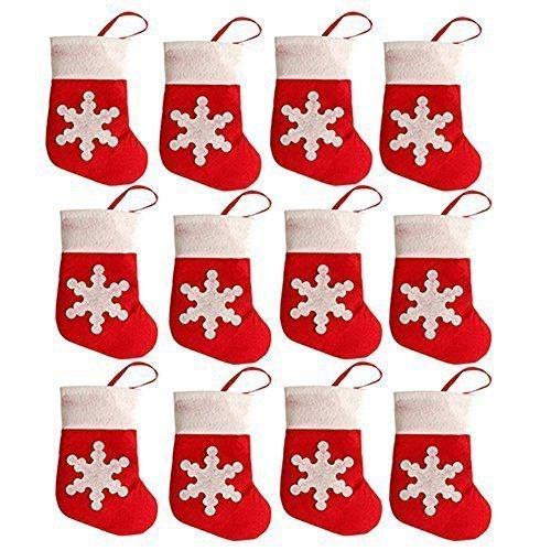 Flyglobal Les porteurs de Noël 12PCS Chaussettes Couverts de Noël pour Décoration Bas Porte Couvert noël Dinner Party de Noël Déco de Table Cadeaux pour Sac Suspendu Decoraion Sapin(porteurs de Noël)