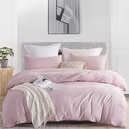 JOHNPEY Duvet Cover Queen (1 Duvet Cover+2 Pillow Shams),Solid Color Soft and Breathable,100% Washed Microfiber,with Zipper Closure(Pink Mocha,Queen90 90'),No Comforter