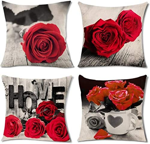 Pack of 4 Red Couch Pillows Covers Bed Decor Rose Couples Flower Pattern Throw Pillow Cases product image