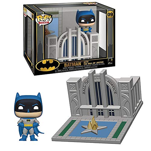 Funko- Pop Towns 80th-Hall of Justice w/Batman Collectible Figure, Multicolore, 44469