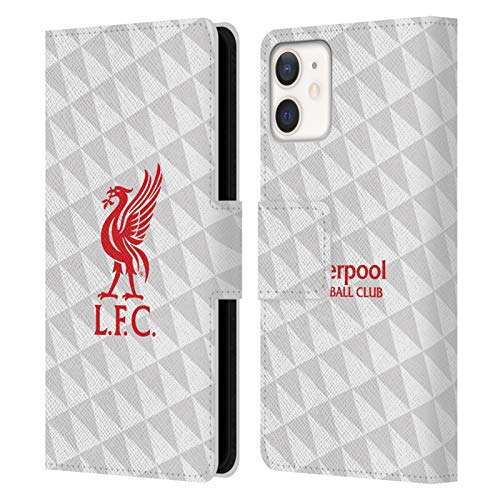 Official Liverpool Football Club Red On White Kit Liver Bird PU Leather Book Wallet Case Cover Compatible For Apple iPhone 12 Mini