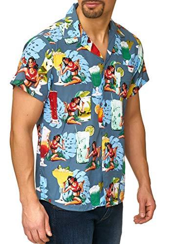 Indicode Herren Charlton Hawaiihemd mit Brust-Tasche aus 100% Viskose | Regular Fit Kurzarm Hemd Herrenhemd Urlaub Sommer Sonne Strand und Meer kurzärmlig Freizeithemd für Männer China Blue M