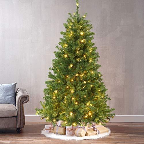 DOUBLEBLUE Künstlicher Weihnachtsbaum 180 cm, Künstlicher Grüner Baum Mit 250 LED-Lichtern(Ø ca.110 cm) ca. 800 Spitzen,mit Metallhalterung,Weihnachtsbaum-Weihnachtsdekoration