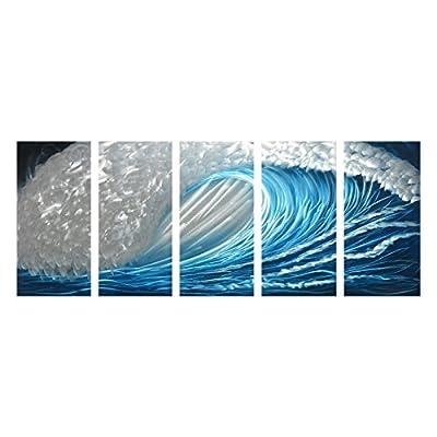 Winpeak Art Blue Ocean Waves Aluminum Metal Wall Art Abstract Modern Contemporary Decor Painting Large Indoor and Outdoor Seascape Nautical Decorative Artwork by Winpeak Art