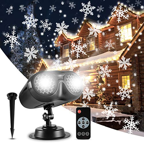 Christmas Projector Lights, Greenclick Snowflake Projector IP65 Waterproof Decoration Spotlights, Moving LED Outdoor Landscape Projector Lights for Christmas Wedding Party Festival【Wire 7m/23ft】