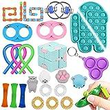 ZONESTA 24 Packs Fidget Toy Set Cheap Pop Bubbles Push Dimple Set Stress Reduction Toy Set