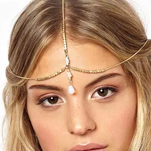 Sethain Boho Kristal Hoofd Ketting Goud Hanger Kralen Hoofdstukken Drop Hoofd Accessoires voor Vrouwen en Meisjes