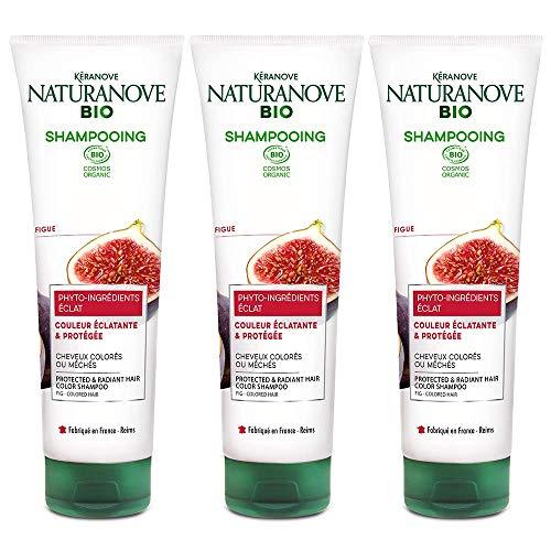 Kéranove Naturanove Bio - Shampooing Eclat Certifié Bio Figue - Pour Cheveux Colorés - 250 ml - Lot de 3
