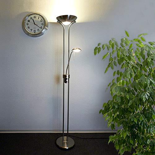 Dapo Steh-Leuchte mit Leseleuchte OKKO Halogen-Decken-Fluter 230V 28 Watt, Nickel
