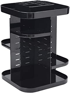 Heycell Makeup Organizer, 360-Degree Rotating DIY Cosmetic Storage Drawer, Adjustable Cosmetic Display Case, Organic Large Capacity Square Makeup Shelf (black1)