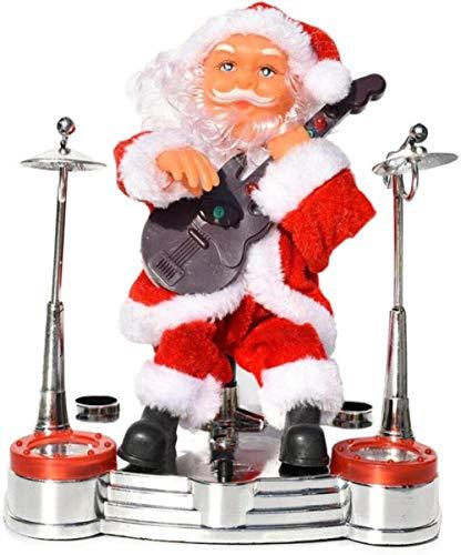 Qasde Electric Santa Claus,Kids Xmas Gift,Playing Musical Instruments Santa Claus Plush Toys Electric Santa Claus Plush Toys Xmas Electric Moving Figure Dolls,Guitar