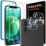 [2+2 Pack] UniqueMe Compatible For iPhone 12 Pro Max [6.7 inch] Screen Protector + Camera Lens Protector Tempered Glass, 9H [Easy Installation Frame] [Add Cameras Flash Circle] [Precise cutout]