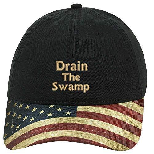Sew Very Southern Trump Drain The Swamp 2018 US Flag Bill Hat - Black Hat