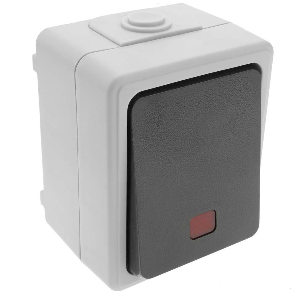BeMatik - Base de Superficie estanca IP54 10A 250V con Interruptor conmutador LED: Amazon.es: Electrónica