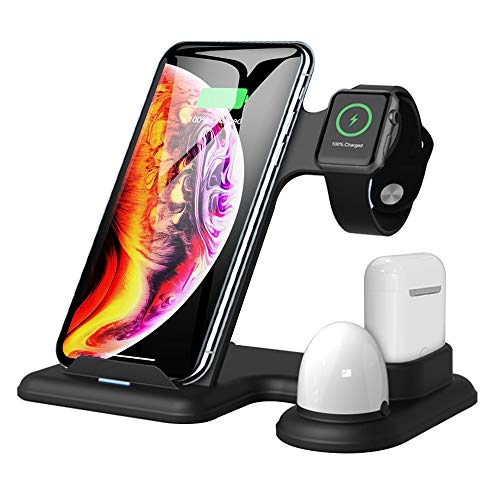 Wireless Charger Stand, 4 in 1 Wireless Charging Station Qi Fast Charger Compatible with iPhone 8/8 Plus/X/XS/XR/XS Max/iPhone 11/11 Pro and Charger 5 4 3 2 1 Airpods 2 (No AC Adapter)