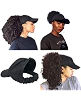 CurlCap Natural Hair Backless Cap – Satin Lined Baseball Hat for Women - Black