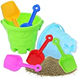 7 PCS Kids Beach Toys Set,Including 2 PCS Sand Buckets and 5 Colors Sand Shovels,Beach Sand Pail and Shovel Setfor Boys and Girls